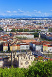 Aerial view of Lyon city Royalty Free Stock Photography