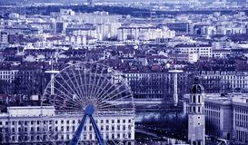 Aerial view of Lyon, France. Aerial view of Lyon in autumn with Ferris Wheel, France Royalty Free Stock Images