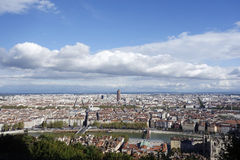 Aerial view of Lyon, France from Fourviere Hill Stock Images