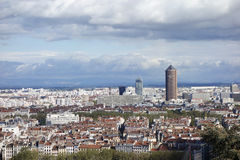 Aerial view of Lyon, France from Fourviere Hill Royalty Free Stock Images