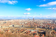 Aerial view of Lyon old town, France Royalty Free Stock Photos