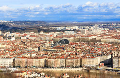 Aerial view of the Lyon Opera House. View of the opera house and lyon old town Royalty Free Stock Photography