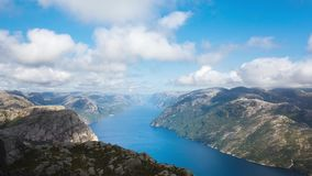 Aerial view of the Lysefjord stock video footage
