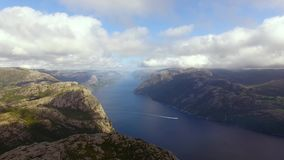 Aerial view of the Lysefjord stock footage