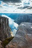 Aerial view Lysefjorden from Kjeragbolten Norway stock photography
