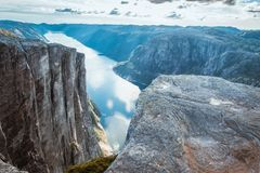 Aerial view Lysefjorden from Kjeragbolten Norway stock photos