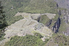 Aerial view of Machu Picchu. View of Machu Picchu as seen from the Huayna Picchu mountain Royalty Free Stock Image