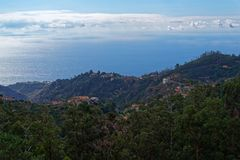 Aerial view at Madeira coastline from Camacha. Aerial view at the coastline of Madeira island from Camacha. Portugal royalty free stock image