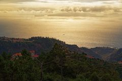 Aerial view from Madeira toward Deserta Grande island, Madeira. Aerial view from Madeira toward Deserta Grande island, the main island of the Portuguese Desertas stock photography