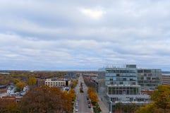 Aerial View of Madison along Washington Avenue Royalty Free Stock Photo