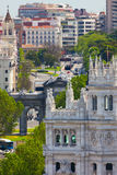 Aerial view of Madrid  / Famous Alcala Gate, builldings and stre Stock Photography