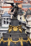 Aerial view of Madrid  / Famous sculpture and roofs of the city Royalty Free Stock Images