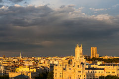 Aerial view of Madrid during the golden hour Royalty Free Stock Photo