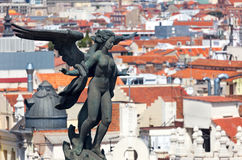 Aerial view of Madrid (Spain) / Famous Statue  and roofs Royalty Free Stock Photography