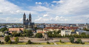 Aerial view of Magdeburg royalty free stock photography