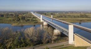 Aerial view of Magdeburg Water Bridge stock photo