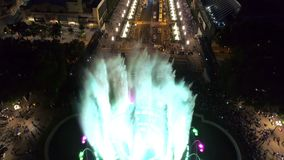 Magic Fountain in Barcelona. Aerial view of Magic Fountain in the night, Barcelona, Spain stock footage