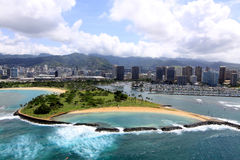 Aerial View of Magic Island. An aerial view of Magic Island park in Honolulu, Hawaii Royalty Free Stock Photography