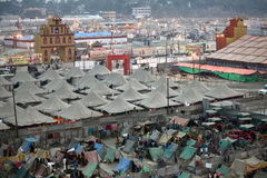 Aerial view of Maha Kumbh Mela festival camp Royalty Free Stock Image