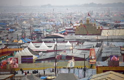 Aerial view of Maha Kumbh Mela festival camp Royalty Free Stock Images
