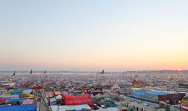 Aerial view of Maha Kumbh Mela festival camp Royalty Free Stock Photography