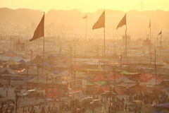 Aerial view of Maha Kumbh Mela festival camp Stock Images