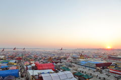 Aerial view of Maha Kumbh Mela festival camp Stock Photos