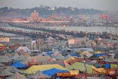 Aerial view of Maha Kumbh Mela festival camp Stock Images