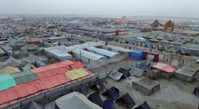 Aerial view of Maha Kumbh Mela festival camp Royalty Free Stock Image