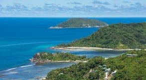 Aerial view of Mahe island coastline, Seychelles Royalty Free Stock Photo