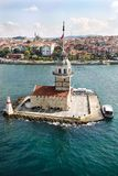 Aerial view of Maiden`s Tower in Istanbul on the Bosphorus. Aerial view of Maiden`s Tower on the Bosphorus royalty free stock images