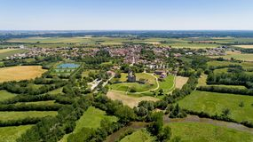 Aerial view of Maillezais abbey in the Poitevin marsh royalty free stock photography