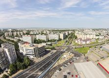 Ploiesti City , Romania, aerial view. Aerial view of the main boulevards of Ploiesti , in Romania, and residential area in the west part of the city Royalty Free Stock Photos