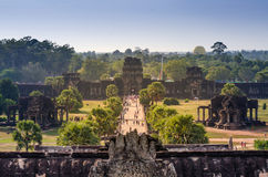 Aerial view of main entrance at Angkor Wat in Siem Reap Royalty Free Stock Photography
