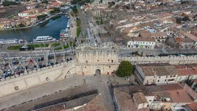 Aerial view of the main gate in ancient medieval city of Aigues-. Mortes. France Stock Photos