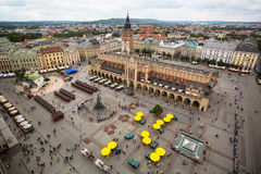 Aerial view of the Main Market Square of Krakow Royalty Free Stock Photography