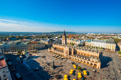 Aerial view on the main market square in Krakow Royalty Free Stock Photography