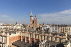 Aerial view of the Main  Market Square with St. Mary's Basilica,Krakow, Poland Stock Image