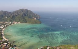 Aerial view of main Pier Ton Sai  on Phi Phi Island during sunny summer day. Aerial drone view of main Pier Ton Sai  on Phi Phi Island during sunny summer day Stock Photography