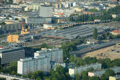 Aerial view of main railway station in Wroclaw city. Royalty Free Stock Image