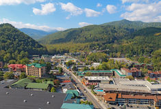 Aerial view of the main road through Gatlinburg, Tennessee Royalty Free Stock Photos