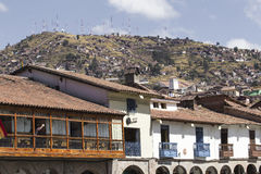 Aerial view of the main square in the capital of Incas, Cusco, P. Eru royalty free stock images