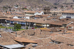 Aerial view of the main square in the capital of Incas, Cusco, P. Eru stock photo