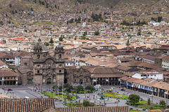Aerial view of the main square in the capital of Incas, Cusco, P. Eru stock image