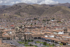Aerial view of the main square in the capital of Incas, Cusco, P. Eru stock photography