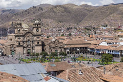 Aerial view of the main square in the capital of Incas, Cusco, P. Eru stock photos