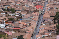 Aerial view of the main square in the capital of Incas, Cusco, P. Eru stock images
