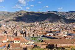 Aerial view of the main square in Cusco, Peru Stock Image