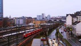 Aerial view of the main train station in Mainz, Germany in the morning stock video footage