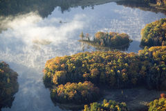 Aerial view of Maine landscape and pond in autumn Stock Photo